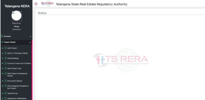 Adding Project Details in Telangana RERA User Registration