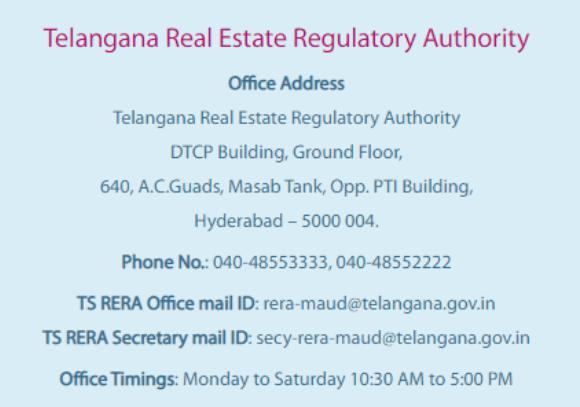 Telangana Rera Contact Details