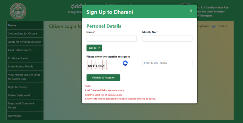 How to register on Dharani Portal
